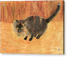 The Mouser, Barn Cat Watercolor Acrylic Print