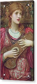 The Music Faintly Falling Dies Away Acrylic Print by John Melhuish Strudwick