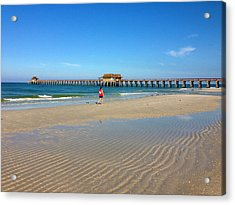 The Naples Pier At Low Tide Acrylic Print