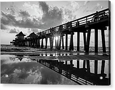 Naples Pier At Sunset Naples Florida Black And White Acrylic Print