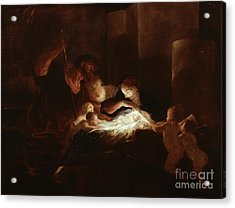The Nativity Acrylic Print by Pierre Louis Cretey or Cretet