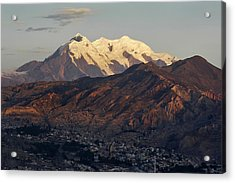 The Nevado Illimani And The South City Of La Paz. Republic Of Bolivia. Acrylic Print by Eric Bauer