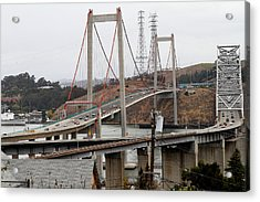 The New Alfred Zampa Memorial Bridge And The Old Carquinez Bridge . 7d8915 Acrylic Print