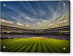 The New Wrigley Field With Pretty Sunset Sky Acrylic Print