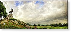 The Newfoundland Caribou And The Trenches - Vintage Version Acrylic Print by Weston Westmoreland