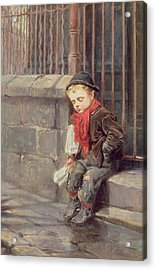 The News Boy Acrylic Print by Ralph Hedley