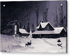 The Night Before Christmas Silvertoned Acrylic Print