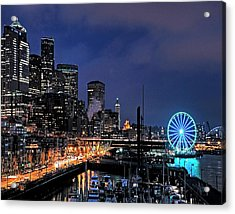 The Night Before Super Bowl Xlix, 2014, Seattle Waterfront Acrylic Print