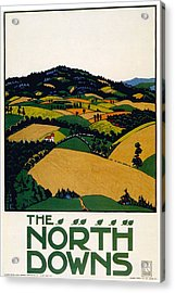 The North Downs - London Underground - London Metro - Retro Travel Poster - Vintage Poster Acrylic Print