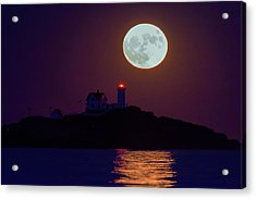 The Nubble And The Full Moon Acrylic Print by Rick Berk
