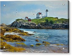 The Nubble Lighthouse Acrylic Print by Lori Deiter