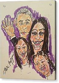 The Obama Family Farwell Tour  Acrylic Print by Geraldine Myszenski