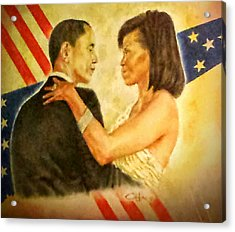 Barack And Michelle Acrylic Print