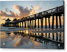 Naples Pier At Sunset Naples Florida Ripples Acrylic Print