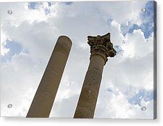 The Old And The New - Columns At The Open Air Theatre Valletta Malta Acrylic Print by Georgia Mizuleva