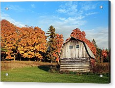 Acrylic Print featuring the photograph The Old Barn In Autumn by Heidi Hermes