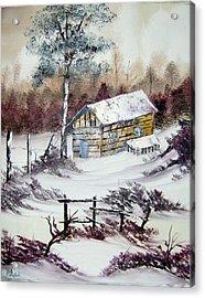 The Old Barn In Winter Acrylic Print