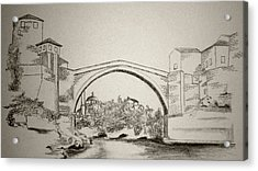 The Old Bridge In Mostar Acrylic Print by Ramo Sabanovic
