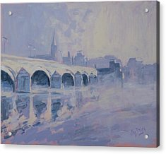 The Old Bridge Of Maastricht In Morning Fog Acrylic Print by Nop Briex