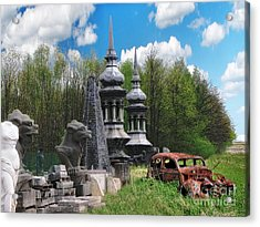 The Old Car At The Dragon Gate Acrylic Print by The Hybryds