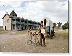 Acrylic Print featuring the photograph The Old Cavalry Barracks At Fort Laramie National Historic Site by Carol M Highsmith