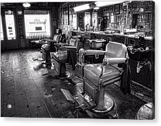 The Old City Barber Shop In Black And White Acrylic Print