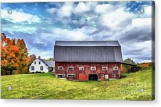 The Old Dairy Barn Etna New Hampshire Acrylic Print by Edward Fielding