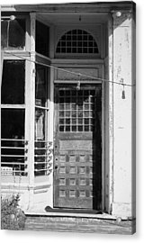 The Old Door At Port Costa B And W Acrylic Print
