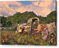 The Old Farm Truck Acrylic Print by Mary Almond