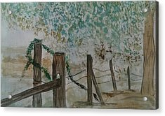 the Old fence Acrylic Print by Judi Goodwin