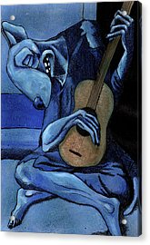 The Old Guitar Dog Acrylic Print by Bizarre Bunny