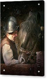 Acrylic Print featuring the digital art The Old Man And His Trusty Friend by Uwe Jarling