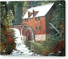 Acrylic Print featuring the painting The Old Mill by Diane Daigle