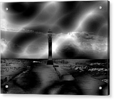 The Old Pier Before A Storm Acrylic Print by Abstract Angel Artist Stephen K