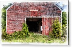 The Old Red Barn At Nutt Farm Etna Nh Acrylic Print by Edward Fielding