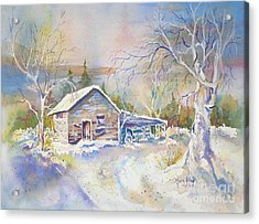 Acrylic Print featuring the painting The Old Shed by Mary Haley-Rocks