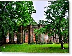 The Old Sheldon Church Ruins 2 Acrylic Print by Lisa Wooten