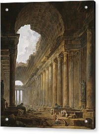 The Old Temple Acrylic Print by Hubert Robert