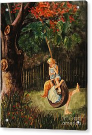 The Old Tire Swing Acrylic Print by Marilyn Smith