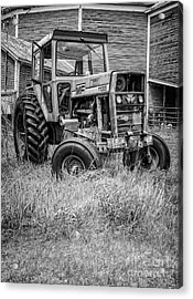 The Old Tractor By The Old Round Barn II Acrylic Print by Edward Fielding