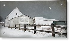 Acrylic Print featuring the photograph The Old White Barn by Robin-Lee Vieira
