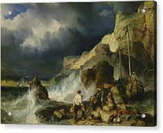 The Onslaught Of The Smugglers Acrylic Print by Louis Eugene Gabriel Isabey
