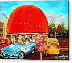 The Orange Julep Montreal Acrylic Print by Carole Spandau