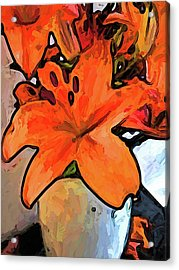The Orange Lilies In The Mother Of Pearl Vase Acrylic Print