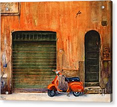The Orange Vespa Acrylic Print