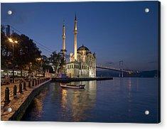 The Ortakoy Mosque And Bosphorus Bridge At Dusk Acrylic Print by Ayhan Altun
