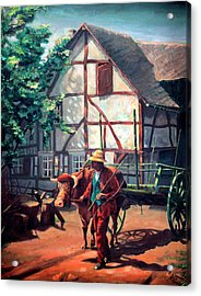 The Ox Cart Acrylic Print by Hanne Lore Koehler