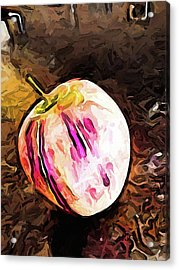 The Pale Pink Apple With The Hot Pink Stripes Acrylic Print