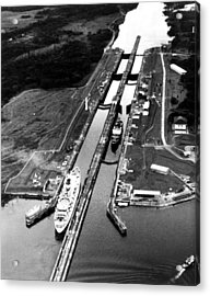 The Panama Canal, A Cruise Ship Moves Acrylic Print by Everett