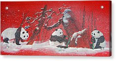 Acrylic Print featuring the painting The Pandas Come On Red by Debbi Saccomanno Chan